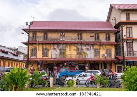 CAYENNE, FRENCH GUIANA - NOV 9, 2013: House in Cayenne, French Guiana. Cayenne was used as a French penal colony from 1854 to 1938.