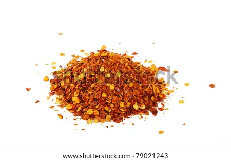 Cayenne pepper on white - stock photo