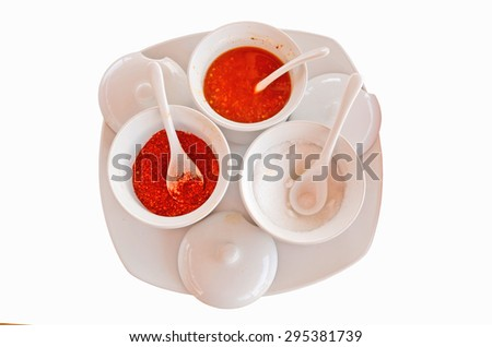 Cayenne,vinegar and sugar for noodles condiment - stock photo
