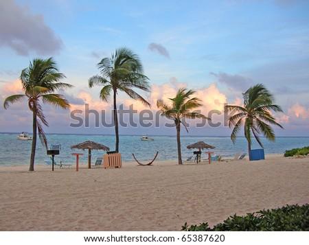 Cayman island sunset - stock photo