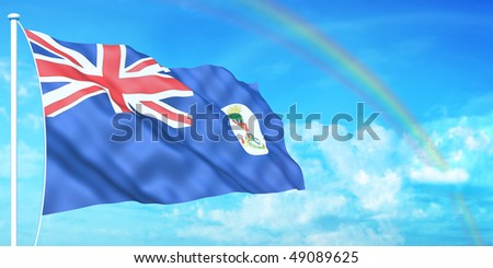Cayman Islands flag on beautiful sky background - stock photo