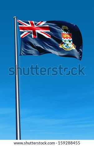 Cayman Islands flag waving on the wind - stock photo