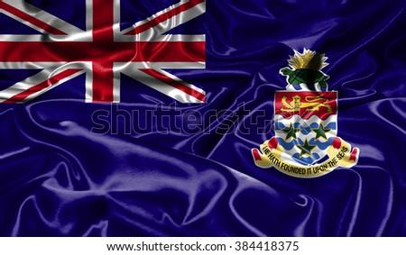 Cayman Islands silk flag - stock photo