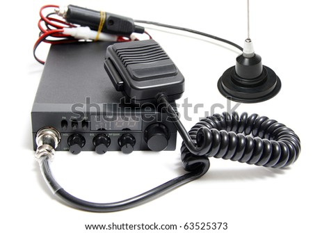 CB radio with microphone on white background - stock photo