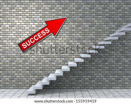CConcept conceptual white stone concrete stair or steps near brick wall background with stone, metaphor to architecture, success, climb, business, staircase, stairway, rise, achievement, growth future
