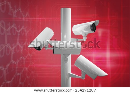 CCTV camera against pink technology square interface design - stock photo