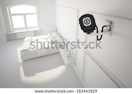 cctv camera in bedroom white illustration look - stock photo