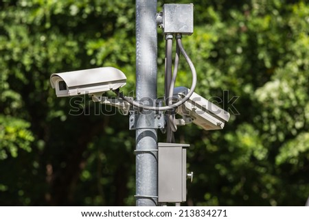 CCTV camera in green background