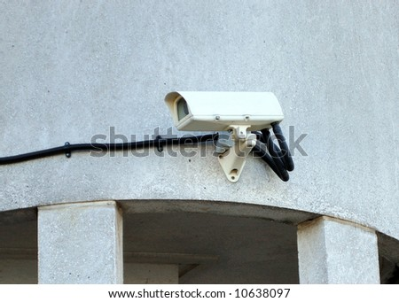 CCTV camera mounted on a wall.