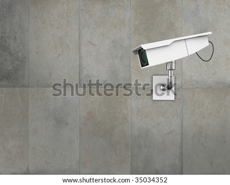 CCTV camera on a concrete wall. High quality 3d illustration.