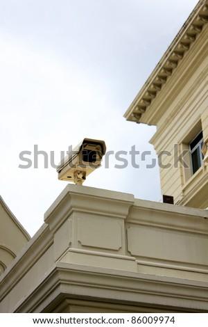CCTV Camera on the gate. - stock photo