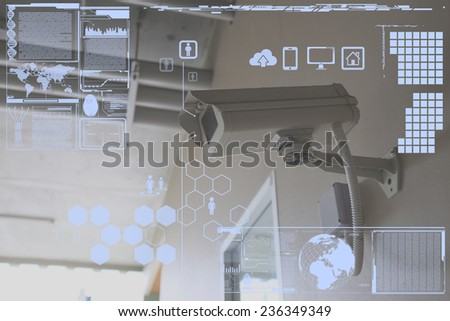 CCTV Camera or surveillance technology on screen display - stock photo