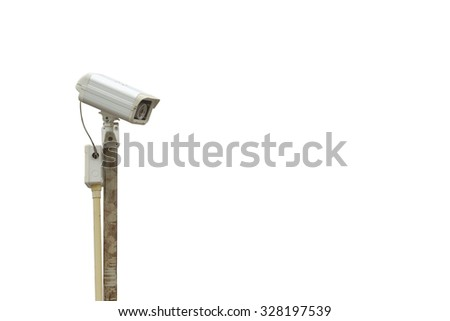 CCTV camera poorly install on rusted pole isolated on white