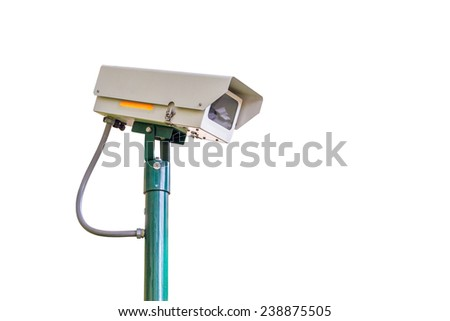 cctv camera security on white background for safety concept - stock photo