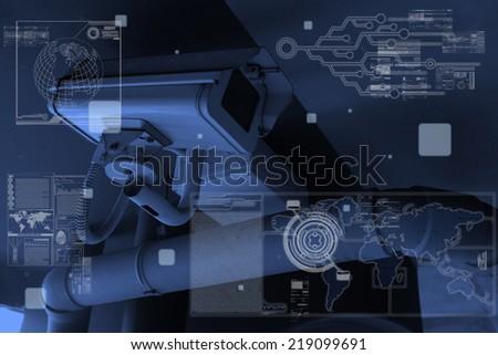 CCTV Camera technology on screen display - stock photo