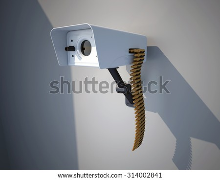 CCTV Camera with a gun and ammunition - stock photo