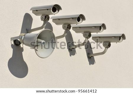 CCTV cameras at the stadium - stock photo