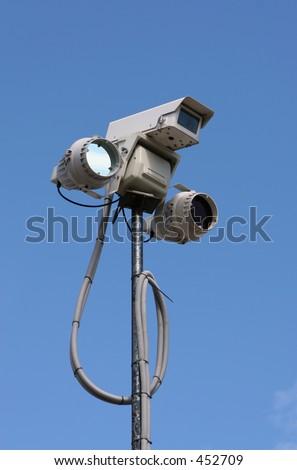 CCTV equipment with infra-red lighting - stock photo