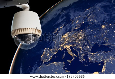 CCTV Exploring europe region, Elements of this image furnished by NASA - stock photo