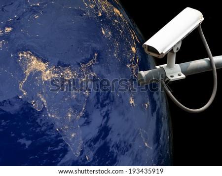 CCTV Exploring India, Globe image from Nasa.gov - stock photo