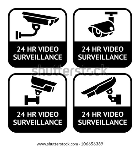 CCTV labels, video surveillance, set symbol security camera pictogram - stock photo