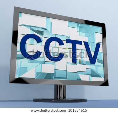 CCTV Monitor For Security Surveillance To Prevent Crimes - stock photo