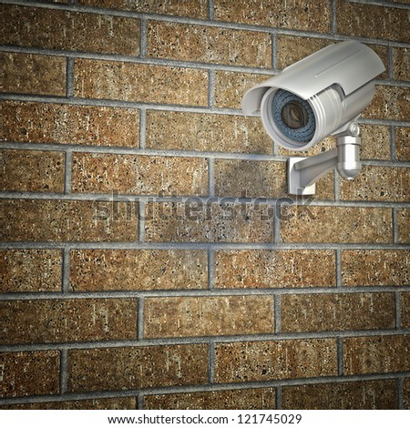 cctv on 3d  brick wall - stock photo