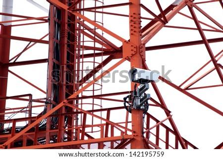 CCTV on Telecommunication Tower - stock photo
