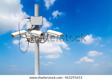 CCTV pillar with beautiful blue sky background