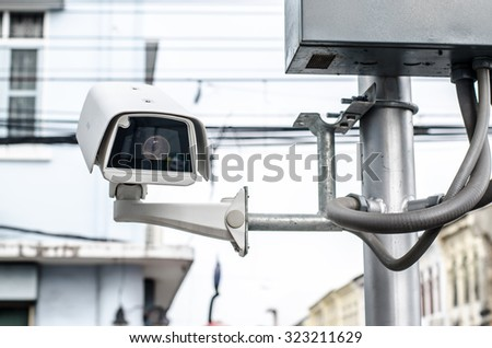 CCTV security camera  - stock photo
