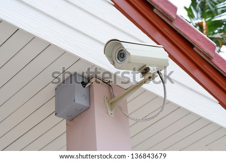 CCTV security camera in home