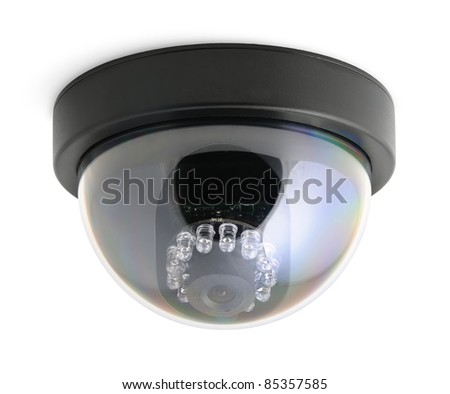 CCTV security camera isolated on white background - stock photo