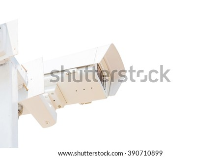 CCTV security camera on white background
