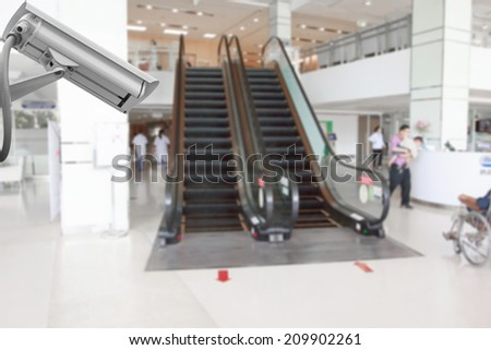 cctv security camera system in building of hospital - stock photo
