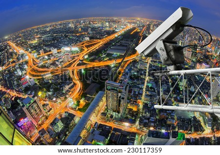 CCTV security on high rise view from the top of a highway in Bangkok, Thailand. - stock photo