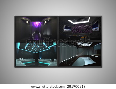 cctv signal showing on the monitor display, it is representing the security for nightclub.