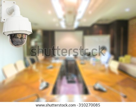 CCTV system security in meeting room office of company blur background. - stock photo