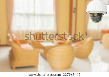 CCTV system security of lobby in hotel blur background. - stock photo