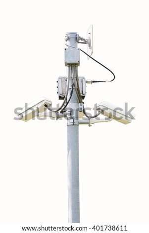cctv systems on wite - stock photo
