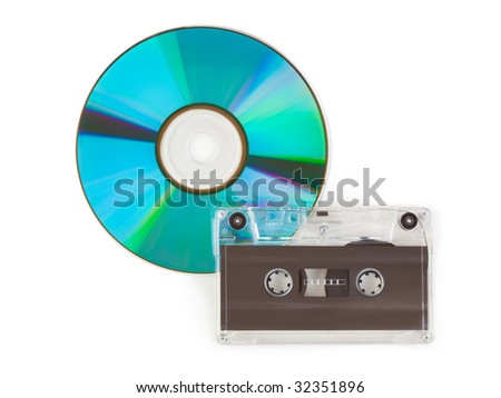 CD and cassette isolated on white background - stock photo
