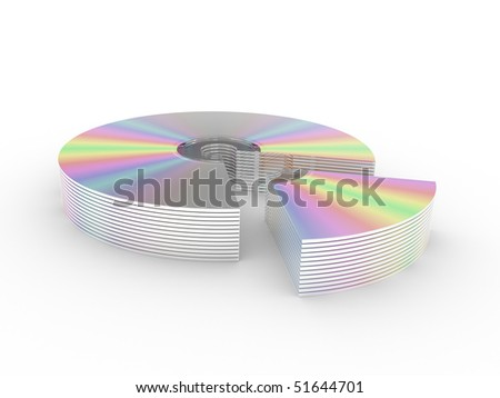 CD and DVD disks isolated on a white background