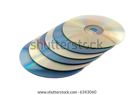 CD and DVD Disks isolated on white