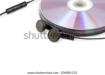CD and ear plugs (to express the concept of listening to music)