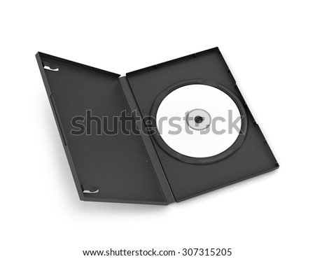 CD Box with disc, isolated on white background