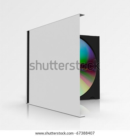 CD box with disc on grey gradient background - stock photo