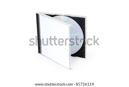 CD Box with disc on white background - stock photo