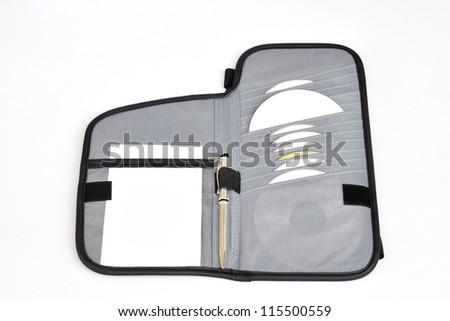 cd case on white background,cd bag,CD wallet - stock photo