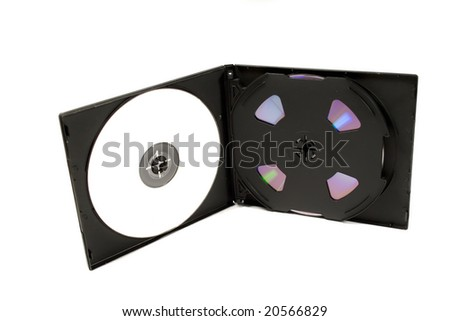 CD case with white cds - stock photo