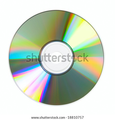 CD close-up isolated over white background - stock photo