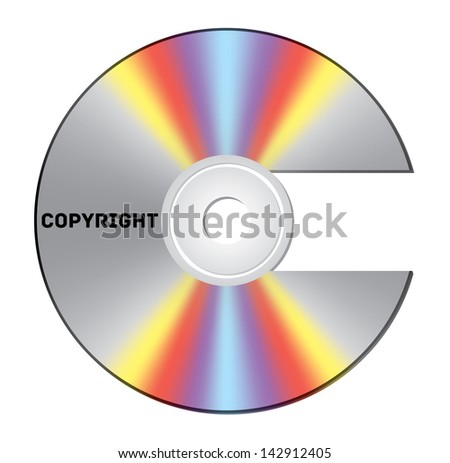CD cut out as copyright sign with note - stock photo